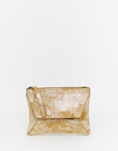Кожаный клатч металлик с ремешком на запястье Urbancode - Золотой
