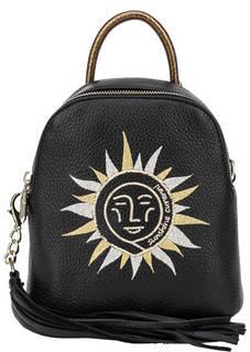 Маленькая кожаная сумка-рюкзак с вышивкой Curanni