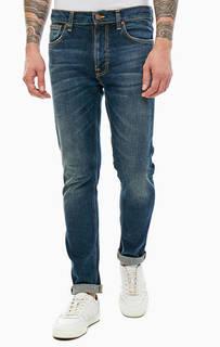 Зауженные джинсы с заломами и потертостями Lean Dean Nudie Jeans