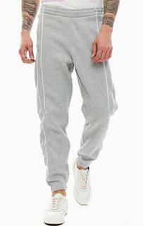 Серые хлопковые брюки джоггеры Adidas