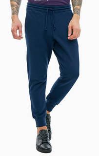 Синие хлопковые брюки джоггеры Adidas