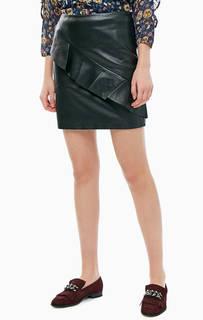 Короткая черная юбка с воланом TOM Tailor