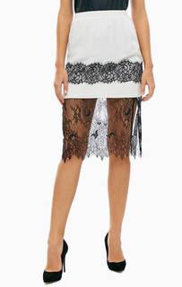 Вечерняя юбка-карандаш из шелка и полупрозрачного кружева Twinset Milano