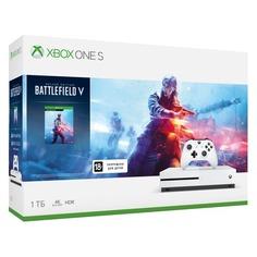 Игровая консоль MICROSOFT Xbox One S с 1 ТБ памяти, игрой Battlefield V, 234-00689, белый
