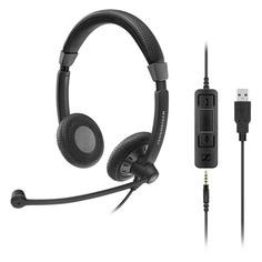 Наушники с микрофоном SENNHEISER SC 75 USB MS, накладные, черный [507086]