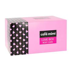 Набор подарочный женский CAFE MIMI LOVE BOX крем для тела 100 мл, шипучая соль для ванны 100 г, мыло 100 г, мочалка