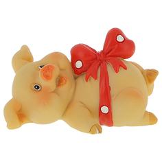 Фигурка декоративная ARTS Свинка с красным бантом