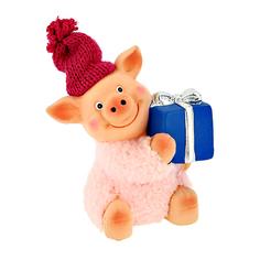 Фигурка декоративная ARTS Большая свинка в шапке с подарком