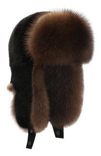 Норковая шапка-ушанка с отделкой из меха баргузинского соболя Kussenkovv