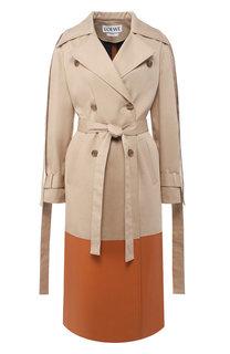Хлопковое пальто с кожаной отделкой Loewe