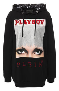 Хлопковый пуловер с капюшоном и принтом Philipp Plein