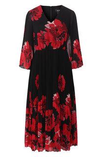 Платье с V-образным вырезом и принтом DKNY