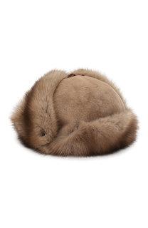 Меховая шапка-ушанка Мишка FurLand