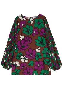 Коричневое шелковое платье с принтом P.A.R.O.S.H.