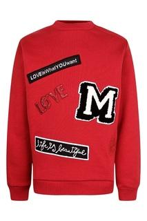 Красный джемпер с аппликациями Dolce&Gabbana Children