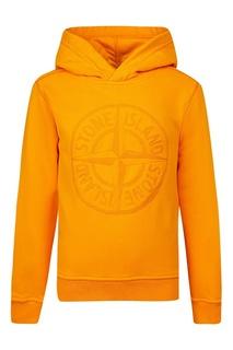 Желтое худи с вышитым логотипом Stone Island Kids
