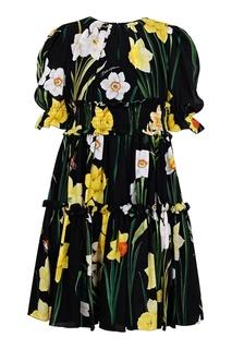 Черное платье с растительным принтом Dolce&Gabbana Children