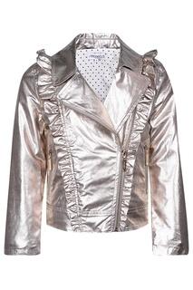 Серебристая куртка с косой молнией Simonetta Mini