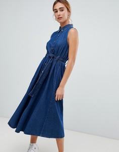 Джинсовое платье с поясом Pull&bear - Синий Pull&;Bear