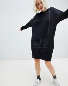 Платье-футболка с квадратным логотипом Love Moschino - Черный