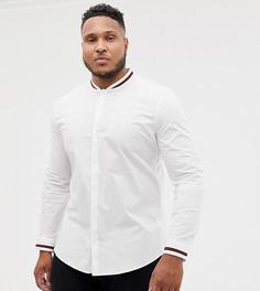 Приталенная рубашка с отделкой в спортивном стиле ASOS DESIGN Plus - Белый