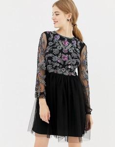 Короткое приталенное платье с отделкой и открытой спиной Frock and Frill - Черный