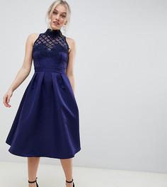 Платье для выпускного с цветочной аппликацией и пайетками Little Mistress Petite - Темно-синий