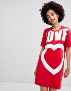 Платье-футболка с логотипом Love Moschino Heart - Красный