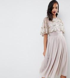 Платье миди с кроп-топом и декоративной отделкой ASOS DESIGN - Золотой