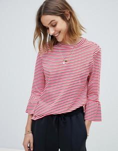 Расклешенная футболка в полоску Maison Scotch - Красный