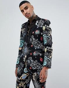 Приталенный пиджак-смокинг с космической вышивкой и съемным попугаем из пайеток ASOS DESIGN - Черный