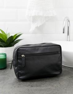 Черный кожаный несессер с подкладкой в клетку ASOS DESIGN - Черный