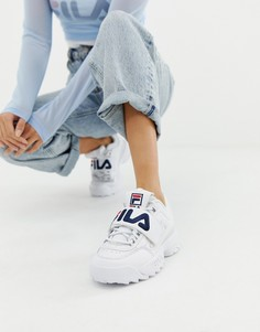 Белые кроссовки на липучке с логотипом Fila White Disruptor 2 Premium - Белый