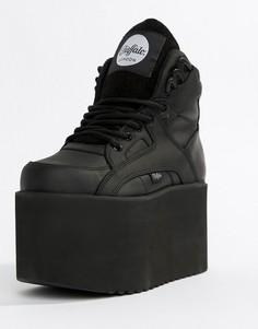 Черные кроссовки на плоской платформе Buffalo - Черный