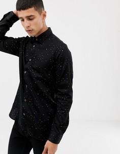 Черная рубашка со звездами металлик Ted Baker - Черный