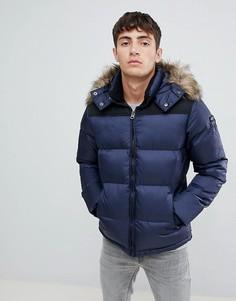 Дутая куртка со съемным капюшоном и отделкой искусственным мехом Schott - Темно-синий
