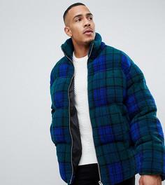 Синяя дутая куртка из искусственного меха в клетку ASOS DESIGN Tall - Синий