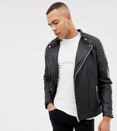 Кожаная байкерская куртка Jacamo Tall - Черный