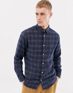 Фактурная приталенная рубашка в клетку Selected Homme - Темно-синий