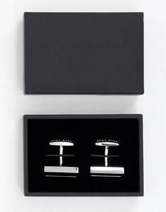 Запонки с прямоугольным логотипом BOSS - Черный