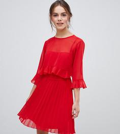 Двухслойное платье мини со складками ASOS DESIGN Petite - Красный