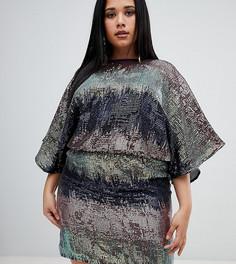 Платье мини с пайетками и эффектом омбре Flounce London Plus - Мульти