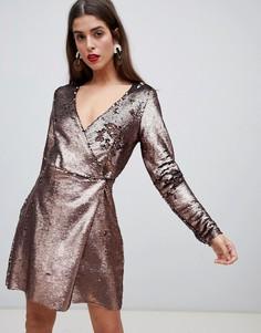 Платье с запахом и пайетками Vero Moda - Золотой