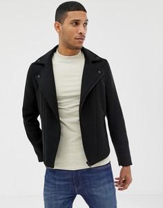Асимметричная байкерская куртка черного цвета Burton Menswear - Черный