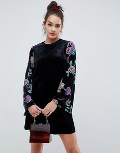 Бархатное платье с принтом ASOS DESIGN - Мульти
