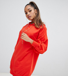 Трикотажное платье с капюшоном ASOS DESIGN Petite - Красный