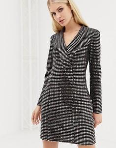 Черное платье-смокинг с отделкой Lipsy - Мульти