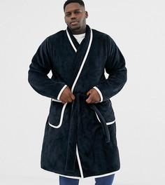 Темно-синий халат со светло-бежевой окантовкой ASOS DESIGN Plus - Темно-синий