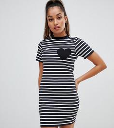 Облегающее платье-футболка мини в полоску с сердечком на кармане ASOS DESIGN Petite - Мульти