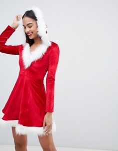 Платье в новогоднем стиле с отделкой искусственным мехом Club L - Красный
